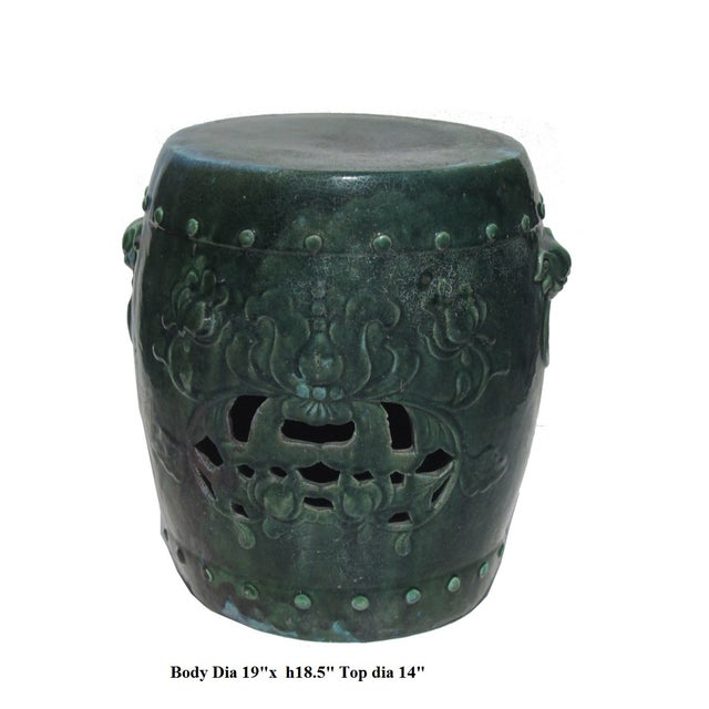 Image of Chinese Green Round Lotus Clay Garden Stool