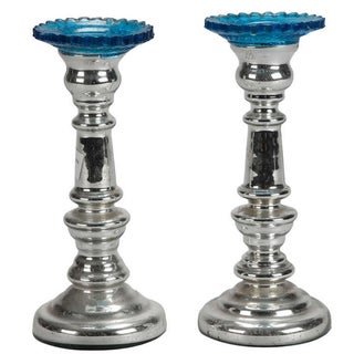 Pair 19th Century Mercury Glass Candlestick Candle Holders