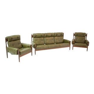 Peem Green Leather Sofa & Chairs - Set of 3