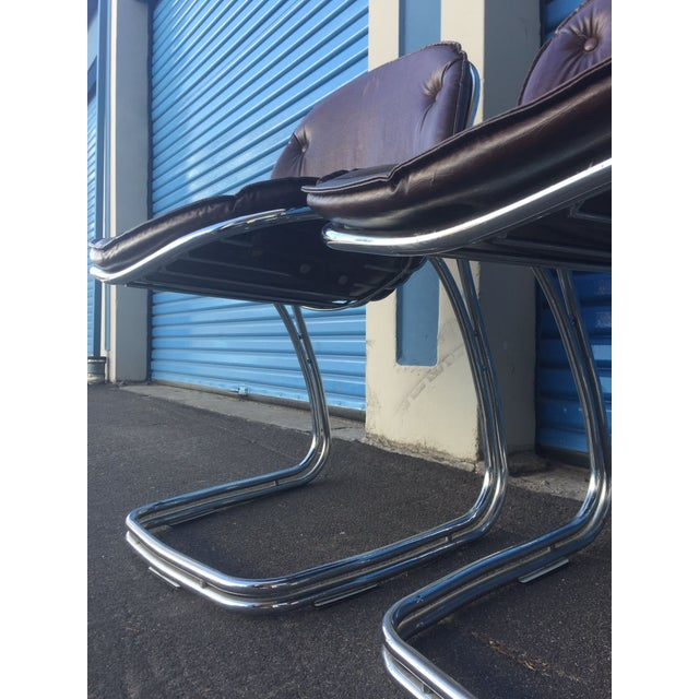 Mid-Century Brown and Chrome Office Chairs - 4 - Image 3 of 5