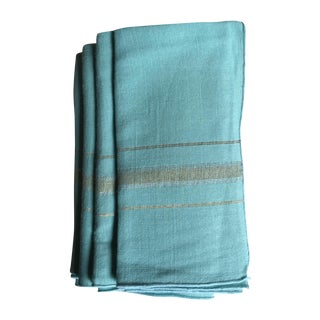 Vintage Mint Green and Metallic Napkins - Set of 4