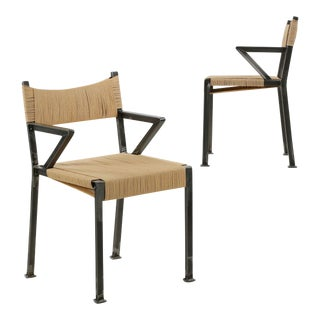 21st Century Tumbled Steel Industrial Style Arm Chairs - a Pair