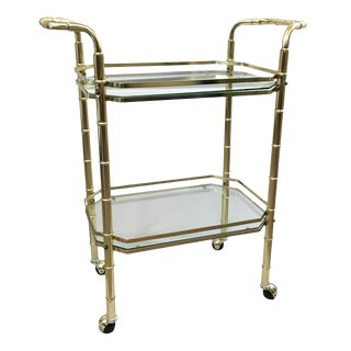 1970s Metal Faux Bamboo Bar Cart