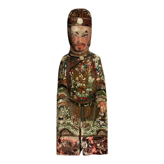 Early Chinese Polychromed Wood Temple Figure - Image 1 of 8