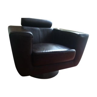 Chocolate Leather Swivel Chair