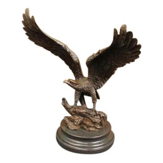 American Bald Eagle Bronze Statue on Marble Base