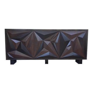 Geometric Faceted Wooden Credenza