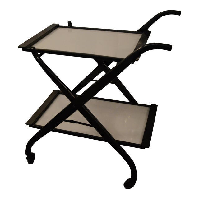 Image of Foldable Newly Laquered Wood Frame & Removable Melamine Tray Bar Cart