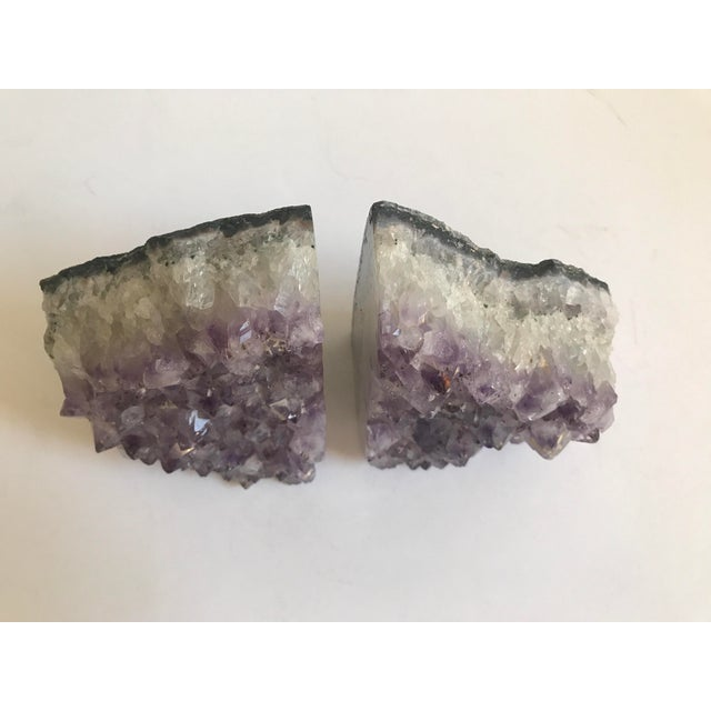 Large Geode Amethyst Bookends - a Pair - Image 3 of 6