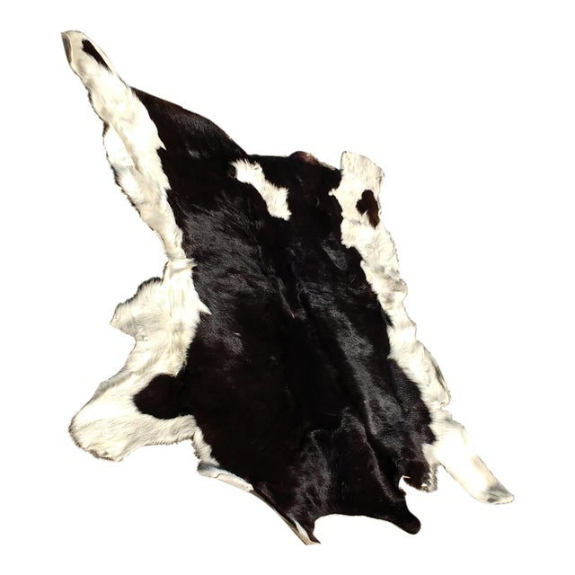 Image of Vintage Black & White Cowhide Rug - 3′2″ × 3′9″