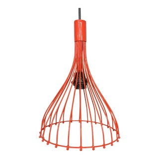 Red-Orange Wire Pendant Lamp