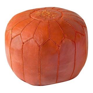 Orange Moroccan Leather Pouf