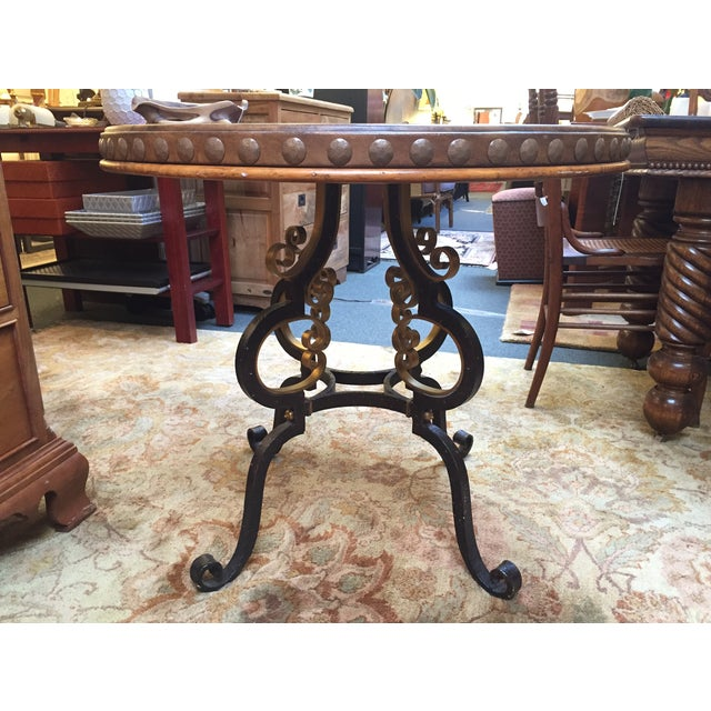Henredon Highlands Leather Top Round End Table - Image 3 of 10