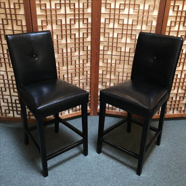 Black Button Back Barstools - a Pair - Image 3 of 9