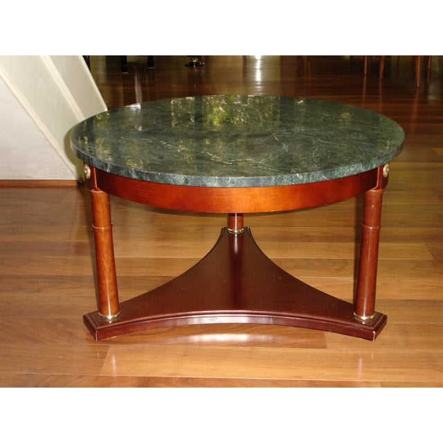 Antique Marble Coffee Table Set: Vintage Green Marble Top & Mahogany Coffee Table