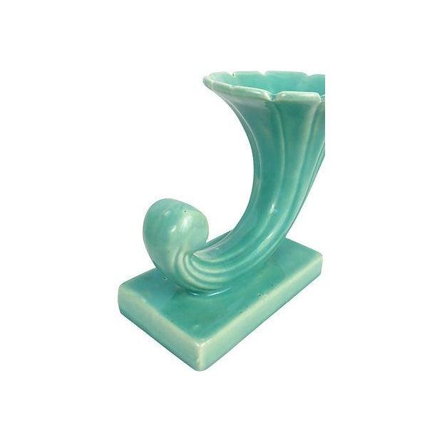 Image of Turquoise Cornucopia Ceramic Vases - A Pair