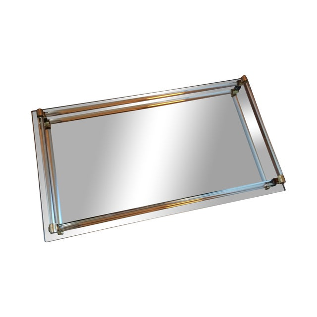 Image of Mirror Tray with Lucite & Brass Details