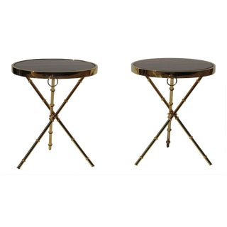 Campaign Faux Bamboo & Marble Side Tables - A Pair