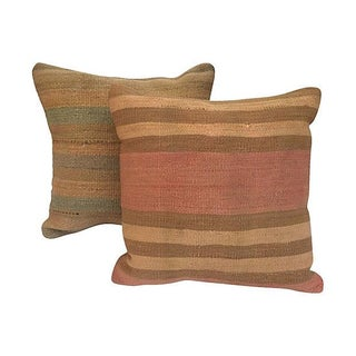 Vintage Striped Turkish Kilim Pillows - A Pair