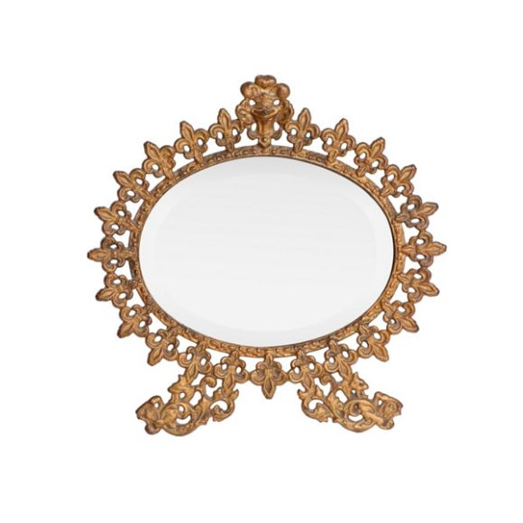 French Fleur-De-Lis Mirror & Stand - Image 1 of 3