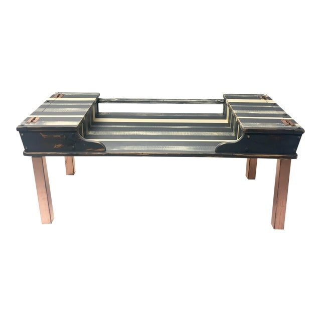 Striped Storage Coffee Table - Image 1 of 9
