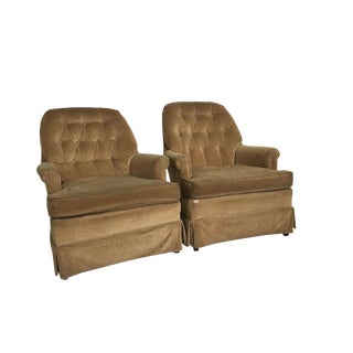 Mid-Century Tufted Club Chairs - A Pair