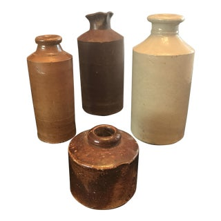 Antique Stone Ink Bottle Collection - Set of 4