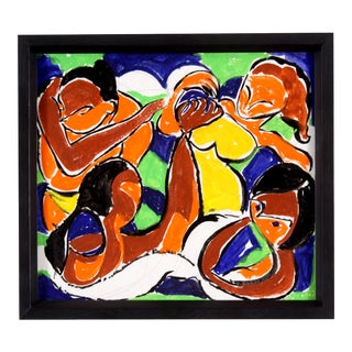 Vintage Abstract Figure Gouache Painting