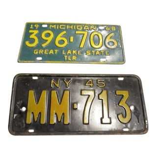 Old License Plates 1945 Nyc - 1968 Michigan