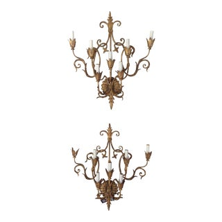 Vintage Gilt Wall Sconces - a Pair