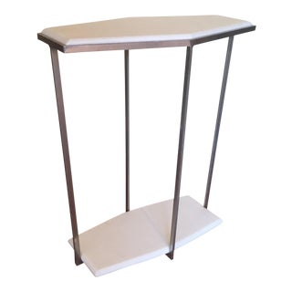 Geometric White Marble Accent Table