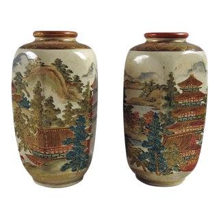 Antique Meiji Period Satsuma Vases - A Pair