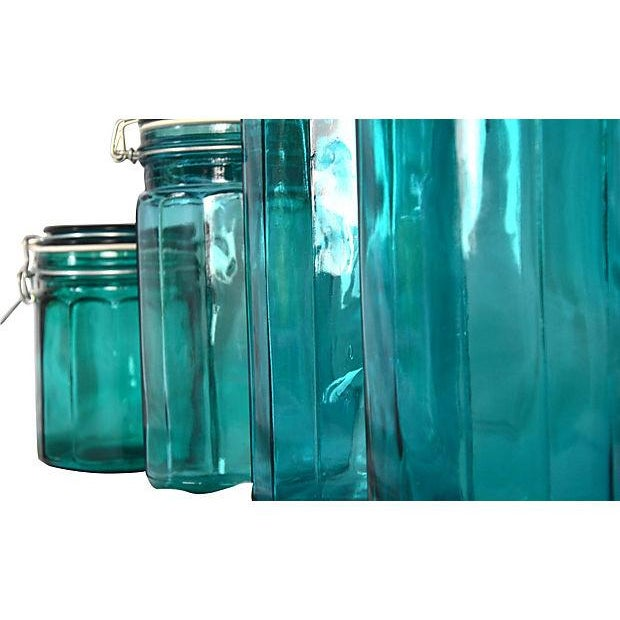European Turquoise Glass Canisters - Set of 4 - Image 3 of 5