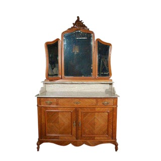 Marble Top Commode with Mirrors