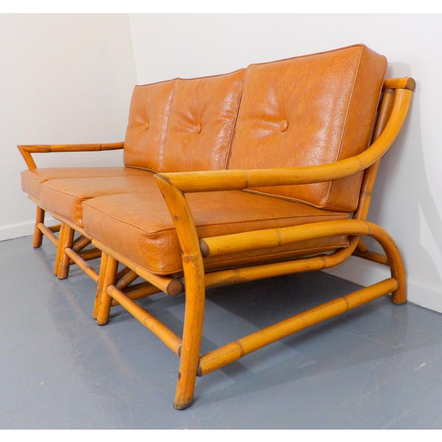 Vintage Naugahyde Mid-Century Modern Bamboo & Brown Vinyl Sofa Set - 3 Pcs. - Image 7 of 11