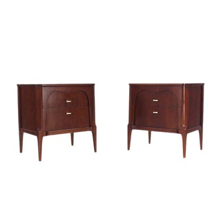 Pair of Sculptural Two Drawer Nightstands
