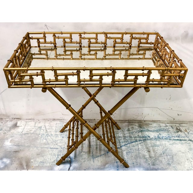 Gilt Metal Faux Bamboo Butler's Tray Table - Image 5 of 5