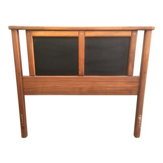 Mid-Century Walnut & Vinyl Single Headboard
