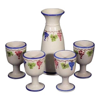 Vietri Italian Pottery Decanter and Goblets - A Set