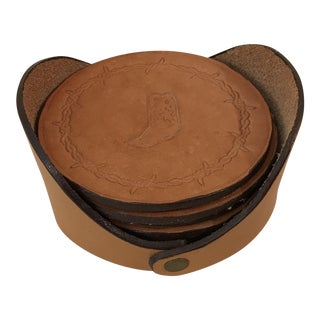 Western Theme Leather Coasters and Case - Set of 8
