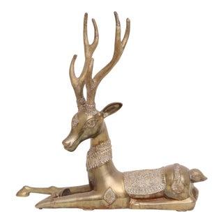 Extra Large Mid-Century Resting Brass Deer Statue Figurine