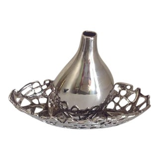 Metallic Chrome Glazed Ceramic Vase & Decorative Bowl - A Pair