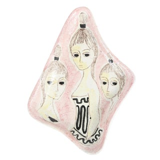 1960S PINK CERAMIC TRAY WITH THREE LADIES, BY MARCELLO FANTONI
