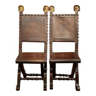 Early 19th Century Spanish Walnut Folding Chairs - A Pair