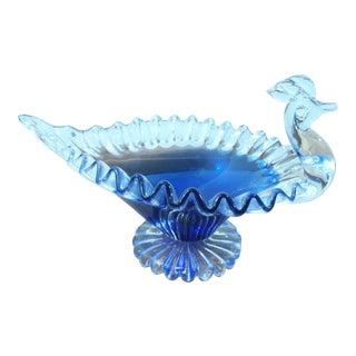 Handblown Clear & Cobalt Blue Glass Peacock Dish