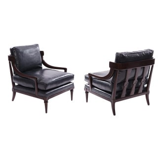 Mahogany & Leather Lounge Chairs - A Pair