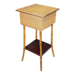 French Burnt Bamboo Side Table