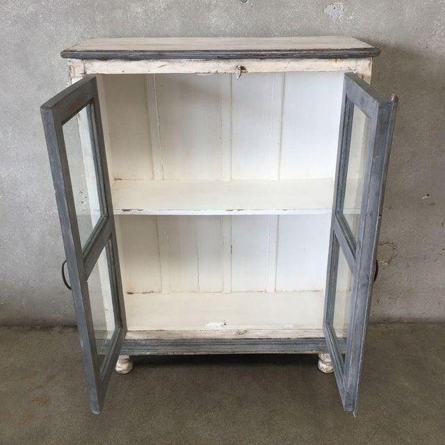 Distressed Gray & White Media Cabinet / Bookshelves