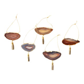 Set of 5 Gold Plated Natural Agate Ornaments
