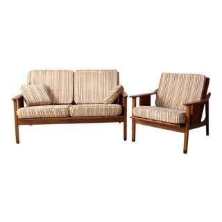 Mid-Century Stanley Love Seat & Chair - A Pair